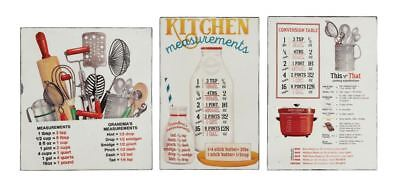 Retro Kitchen Measurements Set of 3 Tin Magnetic Signs so cute New