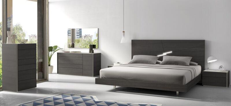 Elegant Design Faro Natural Gray Lacquer 5Pcs Queen Size Bedroom Set Furniture