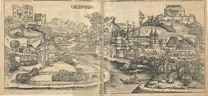 1493 Incunabula Hartmann Schedel Woodcut Salzburga