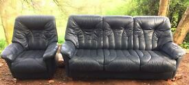Leather couch and chair suite