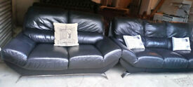 3 SEATER AND 2 SEATER BLACK LEATHER SOFAS VERY MODERN DESIGN ULTIMATE COMFORT VIEWING WECOME