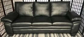 Texas 3-seater black bonded leather sofa NEW RRP £399