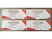 4x Justin Bieber Purpose World Tour GOLDEN CIRCLE Principality Stadium Cardiff