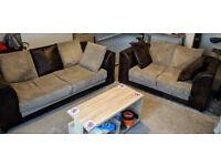 3 seater + 2 seater fabric sofa brown + beige sofas