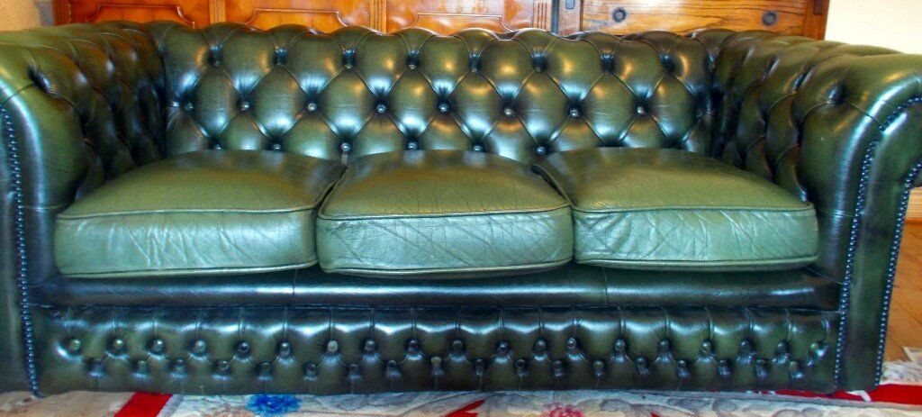 Chesterfield Type Leather Sofa 3 Seater Vintage 80's