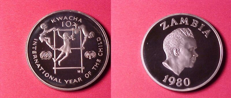 1980 Zambia Large silver Proof 10 Kwacha Year of the Child