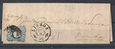 PORTUGAL-1856 carta 25 rs azul, D. PEDRO V, CABELOS LISOS, TIPO II. LISBOA >COIMBRA