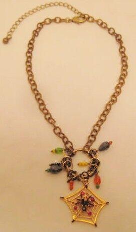 Halloween Spider & Web Charm Necklace on Brass link Chain