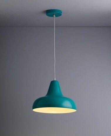 Habitat AERIAL Aqua blue metal ceiling light with white interior - UNUSED