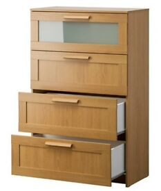 GREAT OFFER | 3 of IKEA Brimnes storage unit dresser 4 drawers | oak effect frosted glass colour