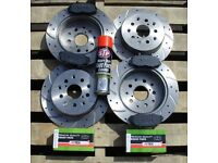 Impreza WRX 2000-2007 2.0 2.5 Drilled Grooved Brake Discs Front Rear & Pads