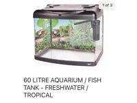 FISH TANK AQUARIUM 60 L MODERN CURVED FRONT LIGHT +FEW FISH