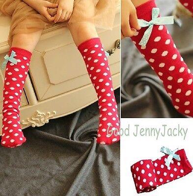 Beautiful Red Dot High Socks with Ribbon