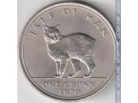 1970 Isle of Man One Crown Manx Coin