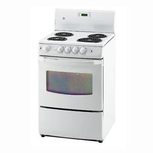 24'' White Stove with coils, GE