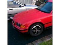1996 e36 coupe bonnet, red