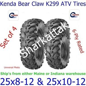 KENDA BEAR CLAW ATV TIRES 25X8-12  25X10-12 SET OF 4