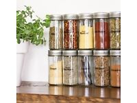 Set of 2 Chrome Coloured Lids Refillable Clear Glass Spice Herbs Jars Holders