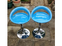 Pair of Blue Kitchen/Bar Stools, Height Adjustable, Swivel, Chrome Bases