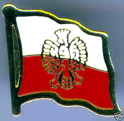 Poland State Flag (Eagle) Flag Lapel / Hat Pin NEW