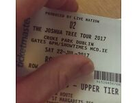 2 U2 Tickets For Sale, Croke Park, Sat 22 July 2017