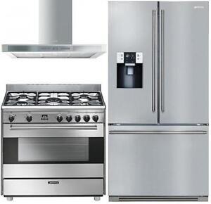 """Smeg S9GMXU 36 Dual Fuel Range FTU171X7 36"""" French Door and KSM36XU Hood. NO TAX (416) 901 7557 www.aniksappliances."""