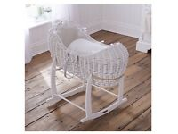 White Noah pod Moses basket, with Claire de lune rocking stand