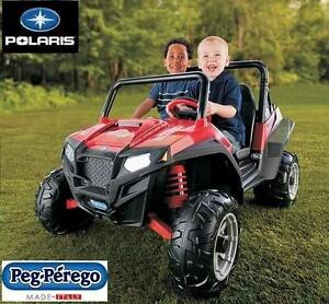 USED PEG PEREGO POLARIS RANGER RZR RED - 12V OUTDOOR PLAY RIDE ON TOYS RIDE-ON ATV ATVS CAR CARS BATTERY POWERED