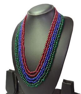 BEST-6-STRAND-NATURAL-EMERALD-SAPPHIRE-RUBY-MIXED-BEADS-STUNNING-NECKLACE