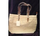 BNWT Shiny Gold Striped Pia Rossini Lombardy Tote (Limited Edition)