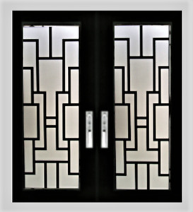 Wrought iron glass Stained glass front door glass inserts wg32
