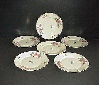 Hertel Jacob Breads Plate Bavaria Germany US-Zone Pink Flowers Set 6