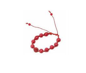 Red beaded bracelet with one glitter bead - JTY201
