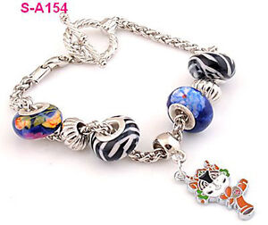 Free-shipping-1pcs-stripe-Lampwork-beads-European-charm-beaded-metal-bracelet