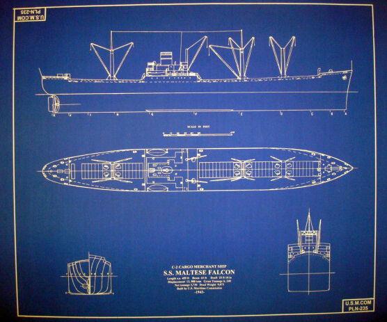 """WW2 US C2 Cargo Ship SS Maltese Falcon 1943 24"""" x 28""""  (077)"""