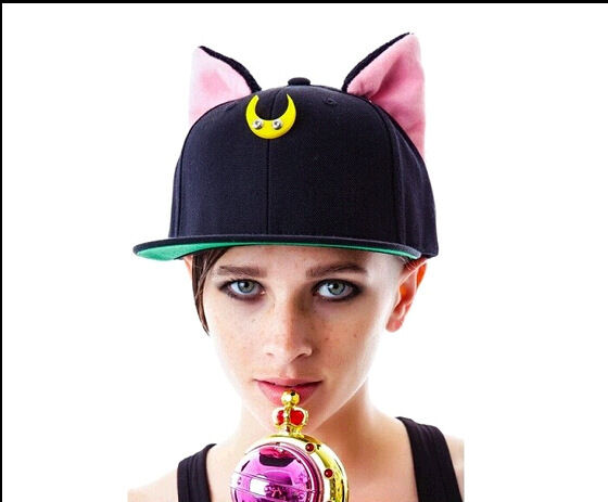 sailor moon cat ears cute baseball hat cap costumes black ear ebay