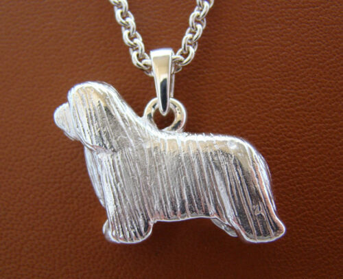 Large Sterling Silver Bearded Collie Standing Study Pendant