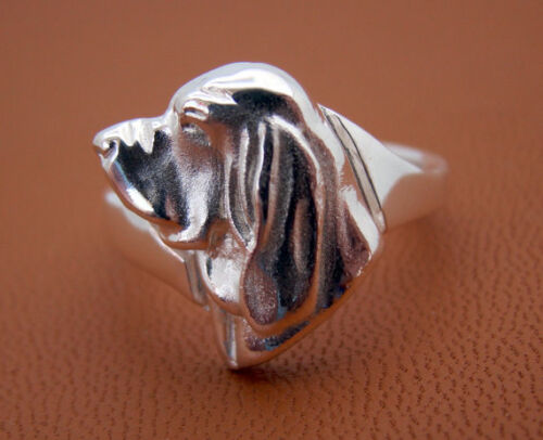 Small Sterling Silver Bloodhound Head Study Ring
