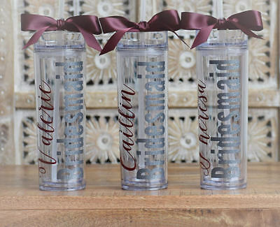 Bridesmaid Tumblers (Bridesmaid acrylic tumbler gift bachelorette party cup favor bridal party)
