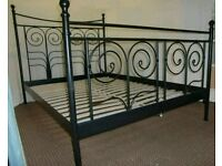 Ikea black metal continental double bed (frame only)