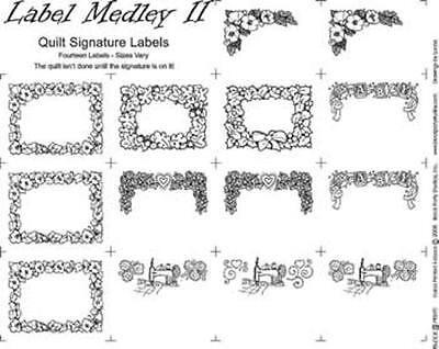 Quilt Fabric Panel Block (QUILT LABEL MEDLEY #2~BLOCK PARTY STUDIOS~COTTON FABRIC PANEL )