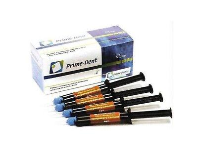 Prime-dent Dental Non-eugenol Automix Temporary Cement 4 Syringe Kit Usa Fda