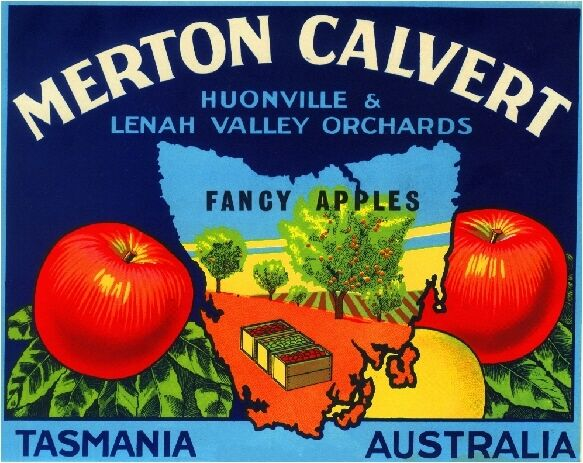 Tasmania Australia Merton Calvert Apple Fruit Crate Label Art Print