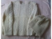 Hand knitted woollen Aran jumper with matching hat