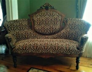 Genuine antique couch, settee, love seat, newly reupholstered.