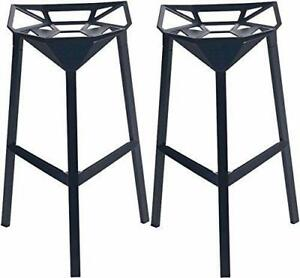 NEW Mod Made Mid Century Modern Geometric Aluminum Barstool, Black, Set of 2