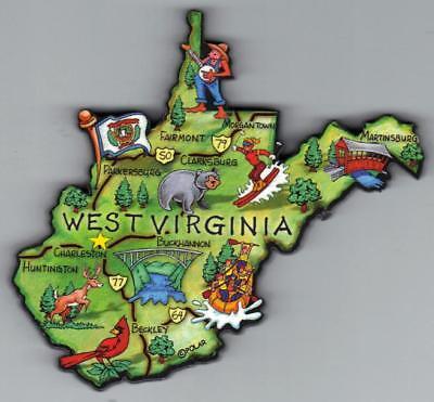 WEST VIRGINIA  WV   ARTWOOD STATE MAP MAGNET CHARLESTON MARTINSBURG CLARKSBURG