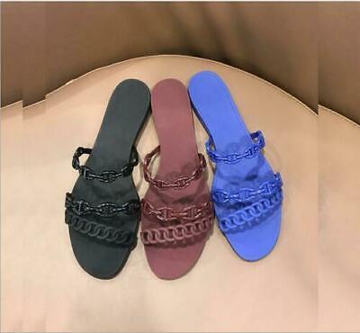 Women's PVC Chain Summer Beach Party Sandal Slippers Open toe Flats Outdoor Shoe ()