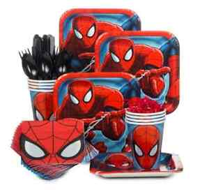 Ultimate Spiderman Birthday Party Kit/Set 8 children Plates Cups Napkins Cutlery