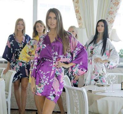 Silk Short/long Wedding Bride Bridesmaid Robe Women Floral Bathrobe Kimono Robe ()